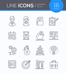 Business - set of line design style icons