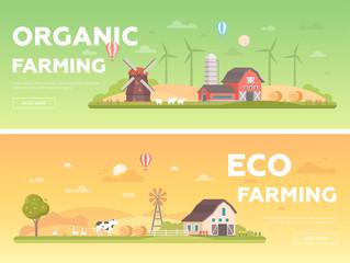 Organic farming - set of modern flat design style vector illustrations