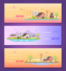 No mill, no meal - set of modern flat design style vector illustrations