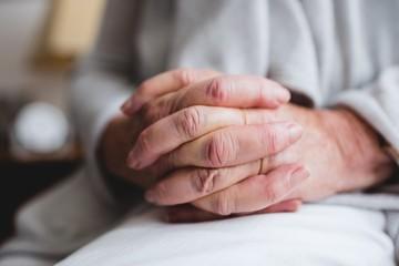 Focus on seniors hands