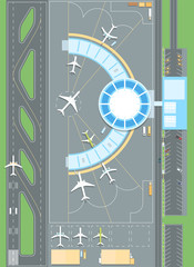 Top view of the airport - modern vector colorful illustration