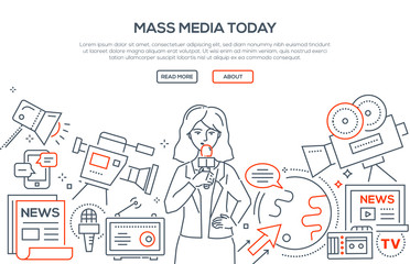 Mass media today - modern line design style illustration