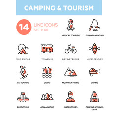 Camping and tourism - line design icons set