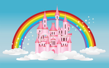 Pink princess castle in sky with clouds and magical rainbow vector