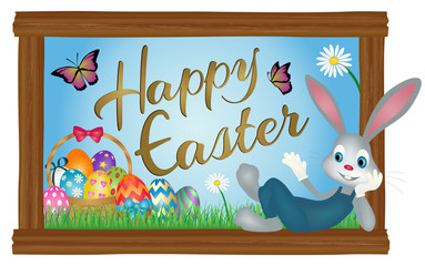 Happy Easter spring background banner with Easter Bunny and basket of Easter eggs