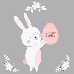 vector cartoon style easter bunny greeting card