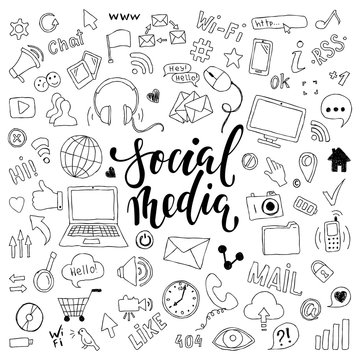 big set of hand drawn doodle cartoon objects and symbols with lettering. on the Social Media theme