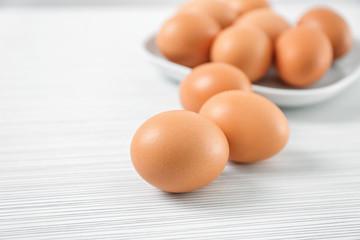Chicken eggs on light table