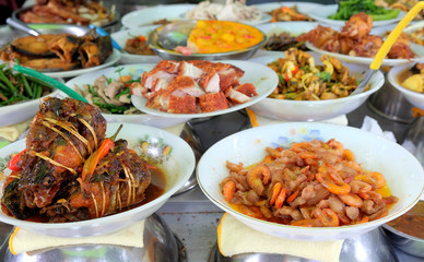 traditional food in the street of Ho Chi Minh city, Vietnam