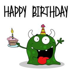 funny happy birthday greeting card vector illustration