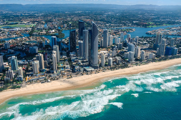 Aerial view of Surfers Paradise on the Gold Coast - host city for the 2018 Commonwealth Games