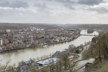 Cityscape of Namur view from the Historic Citadel of Namur, Wallonia region, Belgium