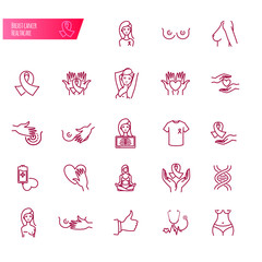 Breast cancer and healthcare vector icons
