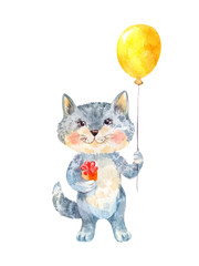 Naive children's drawing of a cat with a gift and a balloon