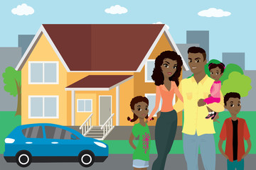 Happy african american family, house and car in the background,