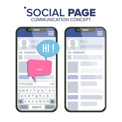 Social Page On Smartphone Vector. Speech Bubbles. Social Media App Interface. Isolated Flat Illustration