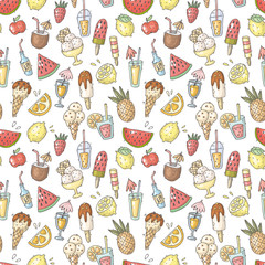 vector seamless pattern with fruits, drinks and ice cream
