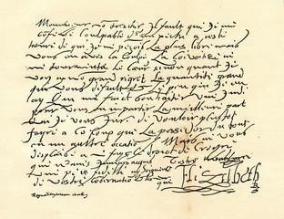 Letter from the Elizabeth I of England to the Henry IV of France (from Spamers Illustrierte Weltgeschichte, 1894, 5[1], 696/697)
