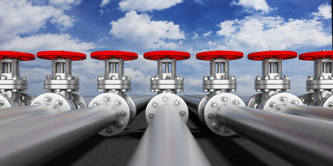 Industrial pipelines and valves on blue sky background, banner. 3d illustration