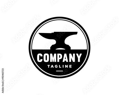 Black Anvil For Forging Symbol Vintage Circle Logo Vector