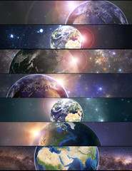 Set of banners with planet Earth. Elements of this image furnished by NASA