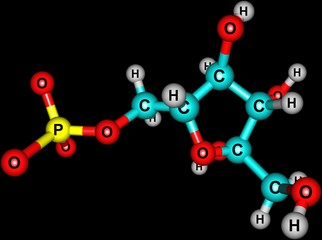 Fructose molecular structure on black background