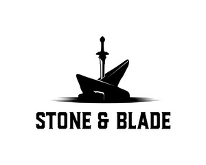 the Strong Sword Pierce on the Stone Symbol Concept Logo Vector