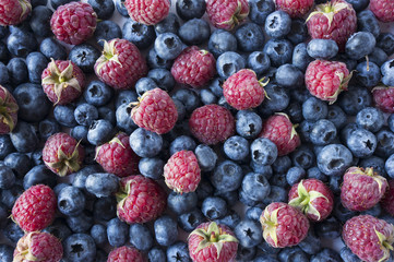 Background of blue and red food. Ripe blueberries and raspberries. Mixed berries. Blue and red berries. Various fresh summer berries. Top view.