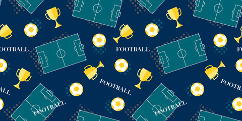 Seamless pattern with stadium, soccer ball and winner cup. Vector football background