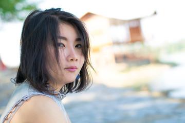 close up cute asian woman