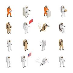 Astronauts Cosmonauts Spacesuit Isometric Set