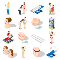 Plastic Surgery Isometric Icons