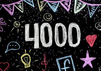 4 000 chalk drawing on blackboard