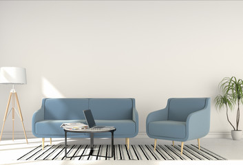interior modern living room workspace with chair, sofa and laptop computer. 3D rendering