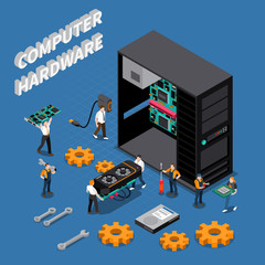 IT Engineer Isometric Compoisition