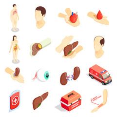 Transplantation Isometric Icons Set