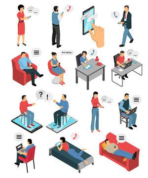 People Chatting Isometric Icons Set
