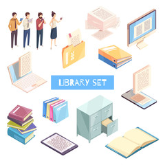 Reading Isometric Icons Set