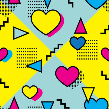 Seamless memphis style pattern with hearts and colorful geometrical shapes on yellow and blue background