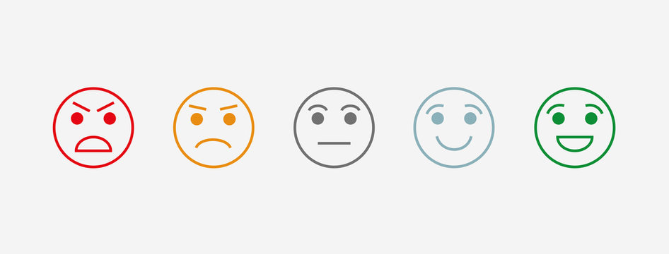 Rating satisfaction. Vector icon. The range of emotions. 5 kinds of moods. User experience. Feedback in the form of emotion. Excellent, good, normal, bad, awful