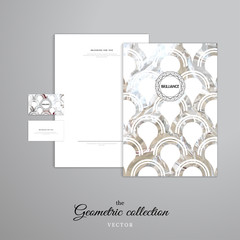 Vector identity templates. Letterhead, folder for documents, business cards. Silver foil round pattern. Frame reminds a gemstone faceting.