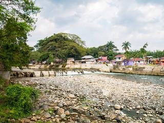 Bohorok River at low tide view from Ecolodge Bukit Lawang