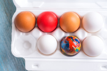 Chicken eggs of different colors in a box with empty space