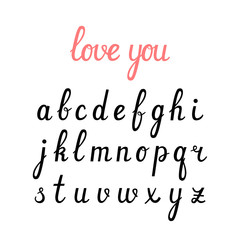 Vector handwritten cursive Alphabet.  Hand drawn Lettering and Typographic. For logo, poster, invitation, greeting card. Brushpen font.