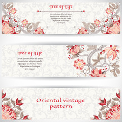 Set of three horizontal banners. The motives of the paintings of ancient Indian fabrics. Tree of Life collection. Place for your text.
