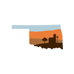 Oklahoma State Shape with Farm at Sunset w Windmill, Barn, and a Tree
