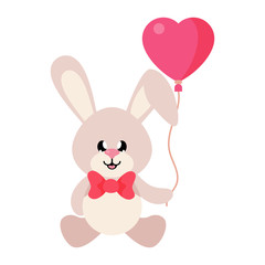 cartoon cute bunny sitting with tie and lovely balloons