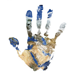 Real hand print combined with a map of The Middle East - of our blue planet Earth. Elements of this image furnished by NASA