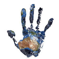Real hand print combined with a map of Australia of our blue planet Earth. Elements of this image furnished by NASA