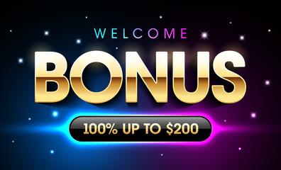 Welcome Bonus casino banner, first deposit bonus